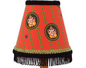 Ganesh Fabric Red Fringed Small Lampshade or Chandelier Shade - Indian Kitsch Decor