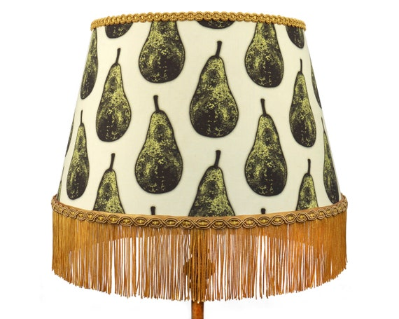 Large Pear Print Gold Fringed Lampshade Uk Floor Lampshade Or Ceiling Shade Quirky Home Decor
