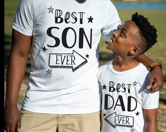 Personalised Fathers Day T-shirt, Matching Family T-shirts, Father and Son Matching Tops, Best Dad Shirts, Best Son Top, Fun Tops, Family