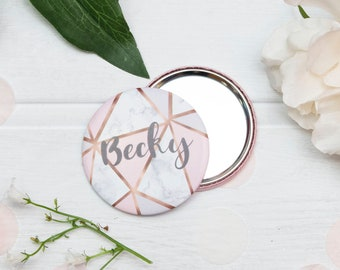 Personalized Hen Party Rose Gold Mirror Geometric, Compact Mirror, Marble Bridesmaid Gift, Custom Bridesmaid Gift, Bride Tribe, Bridesmaid