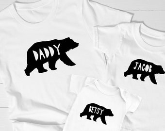 Personalised Fathers Day T-shirt, Matching Family Bear T-shirts, Father and Son Matching Tops, Father Daughter Shirts, Daddy Bear T-shirt