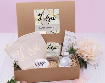Happy Birthday Gift Box Filled Gold Best Friend Beauty Boxes Spa Kits Boxed Gifts