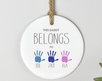 Personalised Dad Gift, Father's Day Granddad Gift, Shed Ornament, Granddad Belongs To Gift, Fathers Day Sign, Child to Dad Gift Hanging Sign