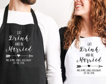 Personalised Wedding Aprons, Bride Groom Wedding Aprons, Newlywed Aprons, Mr and Mrs Aprons, Mr and Mrs Gifts, Newlywed Mr Mrs Home Gift,