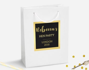 Gold Personalised Gift Bag, DIY Personalised Party Bag, Favour Bag, Gold Party Bags and Gifts, Gift Wrapping, Gift Bags, Hen Party Bag