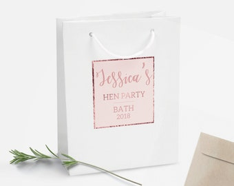 Rose Gold Personalised Gift Bag, DIY Personalised Party Bag, Favour Bag, Gold Party Bags and Gifts, Gift Wrapping, Gift Bags, Hen Party Bag