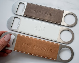 Personalised Vegan Leather Bar Blade, Personalised Bottle Opener, Debossed Bar Blade, Father's Day Gift, Drinking Gift, Dad Bar Gift, Him