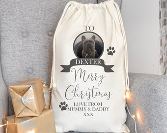 Personalised Pet Santa Sack, Dog Santa Sack, Dog Christmas Sack, Animal Christmas Eve Present Sack, Personalised Sack Bag, Your Pet Photo