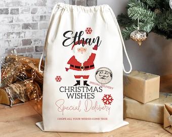 Personalised Santa Sack, Christmas Sack, Child's Kids Christmas Gift Sack, Cotton Santa Bag, Santa Toy Bag, Santa Toy Sack, Kids Drawstring,