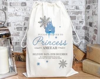 Personalised Princess Christmas Sack, Christmas Sack, Princess Child's Kids Christmas Gift Sack, Cotton Santa Bag, Girls Sack, Ice Princess