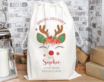 Personalised Christmas Santa Sack, Christmas Eve Present Sack, Personalised Santa Sack Gift Bags, Christmas Gifts, Your Message, Gift Sack