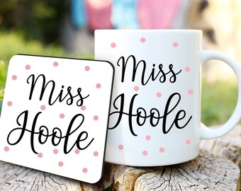 Personalised Teacher Mug and Coaster, Lockdown Teacher Gift, Personalised Teacher Gifts, Personalised Coffee Mug Set, Teaching Assistant,