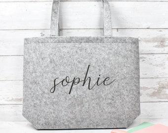 Personalised Felt Shopper, Embroidered Large Felt Tote Bag, Name Tote Bag, Luxury Tote Bag, Personalised Shoulder Bag, Custom Handbag, Felt