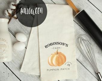 Personalised Fall Tea Towel, Autumn Pumpkin Tea Towel, Halloween Decor, Fall Tea Towel, Fall Decorations, Custom Made, Pumpkin Theme Decor