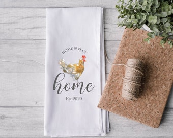 Personalised Chicken Tea Towel, Chicken Gift, Wedding Gift, Chicken Housewarming Gift, Custom Tea Towel, Country Home Tea Towel, Kitchen