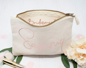 Personalised Rose Gold Makeup Bag, Bridesmaid Gift, Makeup Bag Rose Gold, Bride To Be Gift, Rose Gold Hen Party Gift, Hen Night Accessories.