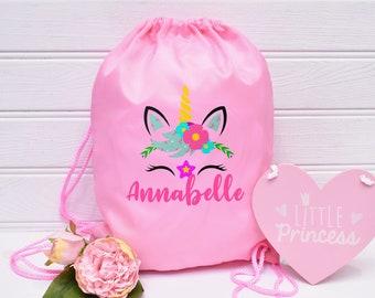 Personalised Dinosaur Girls Flowers Kids Drawstring PE Bag Swimming School Bag