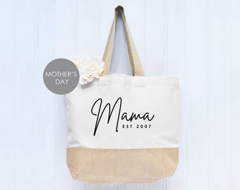 "Mothers Day Good Size /""Mums are Great/"" Jute Shopper from These Bags Are Great"