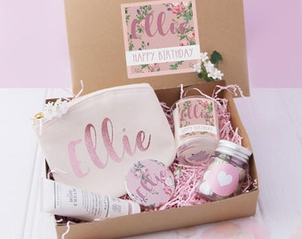 Happy Birthday Gift Box Filled Rose Gold Best Friend Beauty Boxes Spa Kits Boxed Gifts