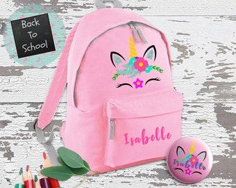 Personalised Unicorn Backpack, Unicorn School Bag, Kids Unicorn Rucksack,  Girls School Backpack, Kids Children Student Backpack, Face ebbd62ec2d