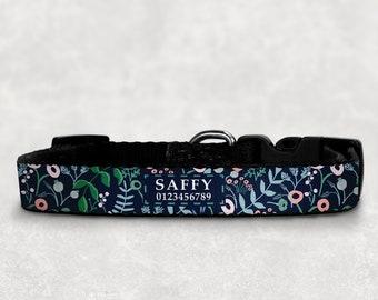 Personalised Dog Collar, Custom Name Dog Collars, Custom Name Collar, Floral Dog Collars, Pet Owner Gift, Adjustable Collar, Pet Gift,