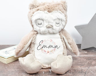 Personalised Owl Teddy, New Baby Gift, Customised Plush Soft Toy, Your Name Teddy, Cuddly Toy, Girls and Boys Owl Teddy, Baby Shower Gift