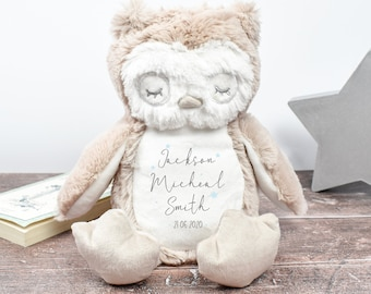 Personalised Baby Owl, New Baby Gift, Customised Plush Soft Toy, Your Name Teddy, Birth Cuddly Toy, Birth Name Date Teddy, Baby Shower Gift