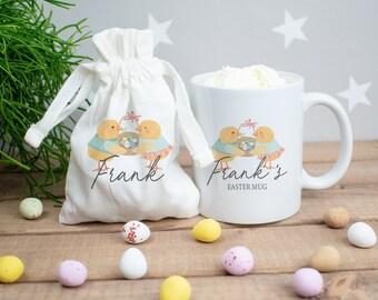 Personalised Easter Mug, Easter Mug Gift Set, Easter Mug with Eggs, Personalised Easter Chocolate Gift, Kids Easter Treats, Easter Egg Bags