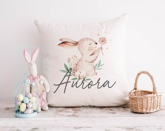 Personalised Bunny Cushion, Personalised Easter Cushion, Easter Gift, Easter Decor, Spring Cushion, Baby Girl Easter Gift, Bunny Decor