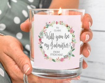 Personalised Godmother Gift, Will You Be My Godmother Candle, Godparents Candle Custom Candle, Godmother Gift Candle, Personalised Candle,
