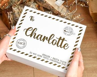 Personalised Christmas Eve Box, Mail Christmas Eve Box, Empty Xmas Eve Box, Kids Xmas Box, Empty Christmas Box, Kids Xmas Eve Box, Gold Box