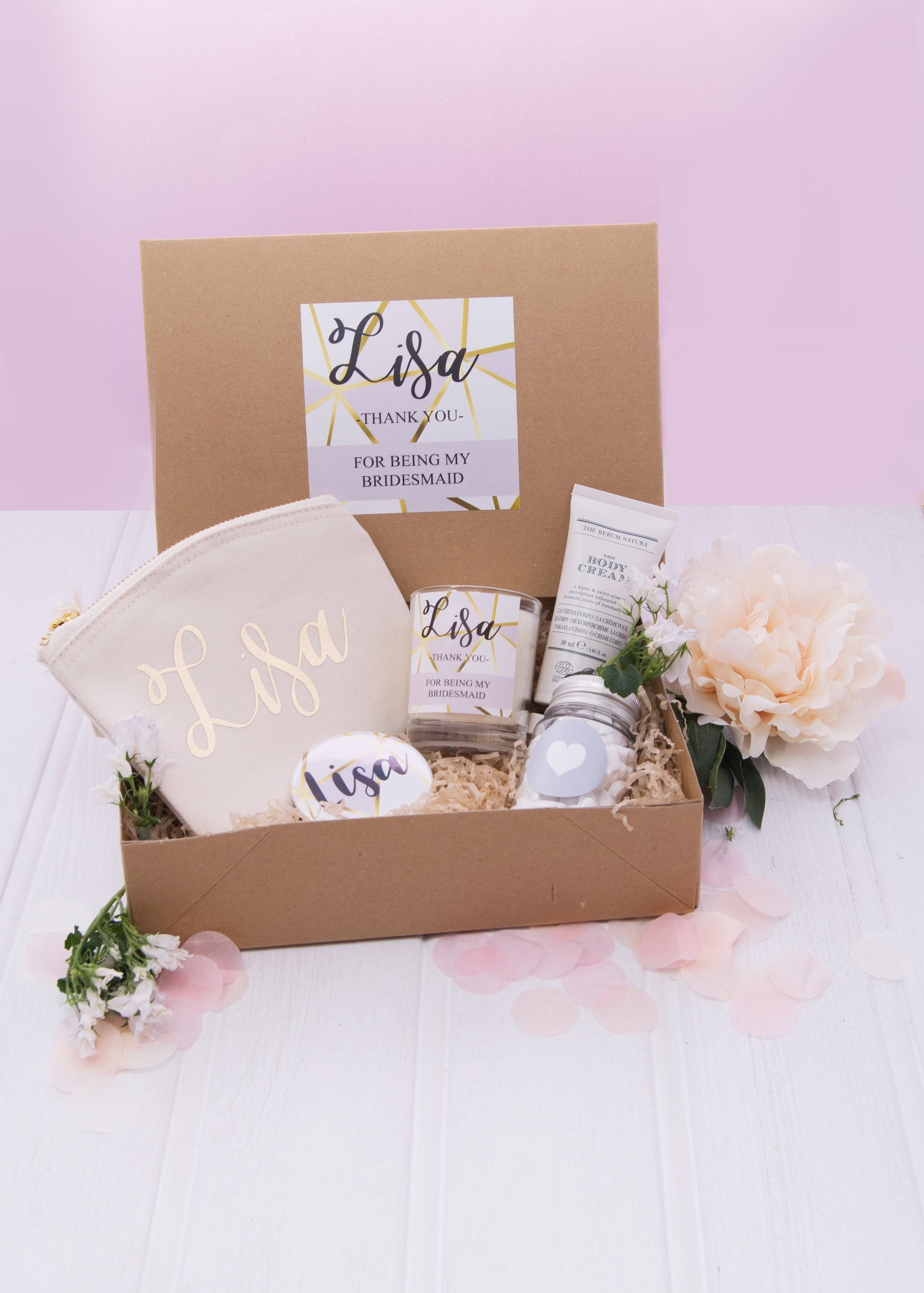 Personalised Bridesmaid Gift Box Filled Thank You Bridesmaid Box Bridesmaid Gift Set Wedding Thank You Gifts Filled Gift Set Gift Box
