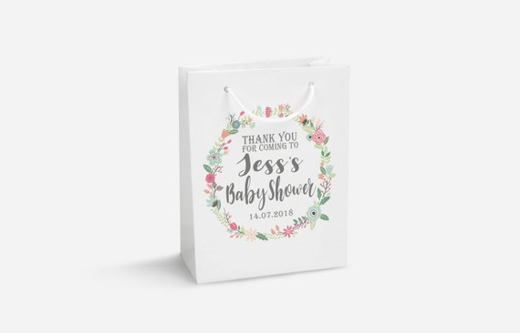 Personalised Baby Shower Gift Bag Diy Sticker Personalised Etsy