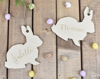 Personalised Easter Bunny Decoration, Engraved Wooden Bunny, Easter Name Tag, Easter Tree Decorations, Easter Bauble, Rabbit Decoration
