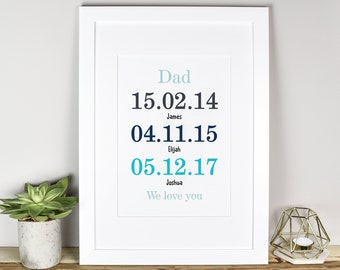 Personalised Father's Day Print, Child Birthdate Print, Special Dates Print, Father's Day Gift, Personalised Print, Dad Sentimental Gift,