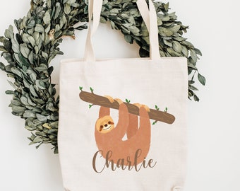 Sloth Personalised Tote Bag, Sloth Gift For Her, Name Canvas Tote Bag, Sloth Style Tote Bag, Sloth Tote Bag, Pattern Tote Bag, Girls
