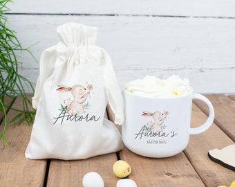 Personalised Bunny Easter Mug, Easter Hot Chocolate Mug, Child's Easter Cup, Easter Mug Gift Set, Personalised Easter Cup, Easter Egg Bag