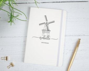 Personalised Amsterdam Notebook, Amsterdam Travel Journal, Travel Journal, Notebook, Name Journal, Windmill Theme Diary, Travel Gift,