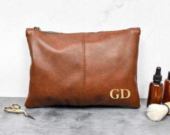Personalised Dad Washbag, Father Wash Bag, Daddy Gifts, Christmas Dad Gift, Leather Look Wash Bag, Initial Washbag, Beard Gift, Men's Gift
