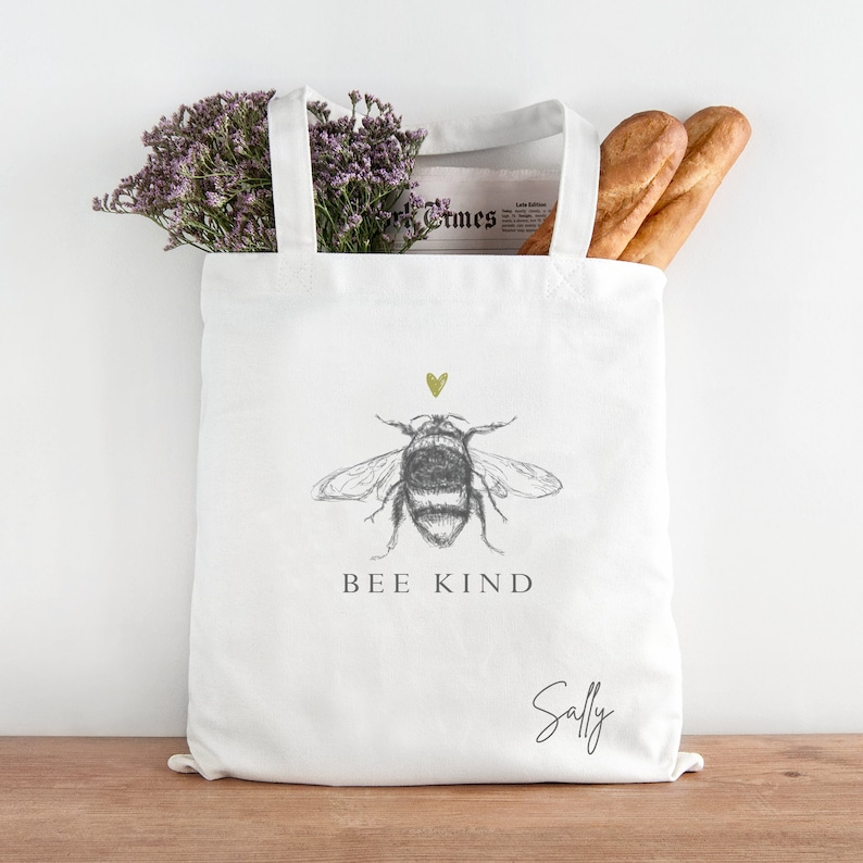 Bee Tote Bag Gift Gifts for Her Bee Gifts Personalised Shopping Bag Personalised Bee Kind Tote Bag Personalised Tote Bag Be Kind Gifts