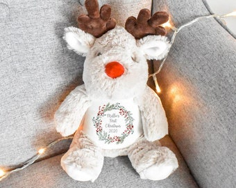 Personalised First Christmas Teddy, Baby 1st Christmas Gift, Reindeer Teddy, Penguin Soft Toy, Custom Cuddly Toy, Baby Stocking Fillers