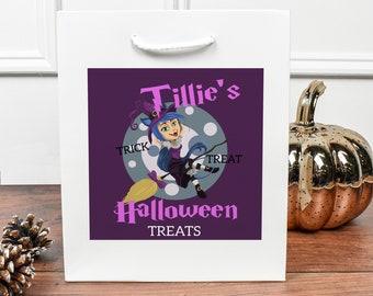 Personalised Halloween Gift Bag, Halloween Sweet Bags, DIY Candy Gift Bag, Personalised Trick Or Treat Bag, Halloween Kids Loot Bags,