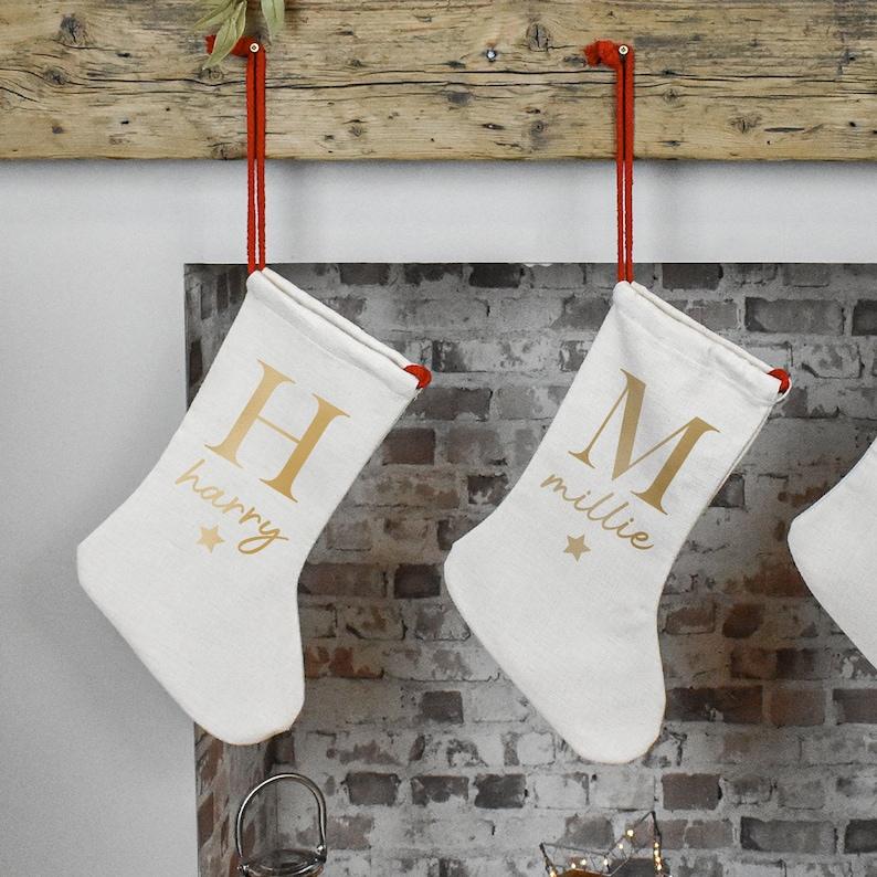 Personalised Christmas Stocking Holiday Stocking Name image 0