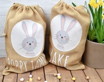Personalised Cute Easter Bunny Jute Sack, Personalised Easter Bag, Child's Storage Bag, Easter Egg Hunt Gift Bag, Easter Egg Hunt Bags