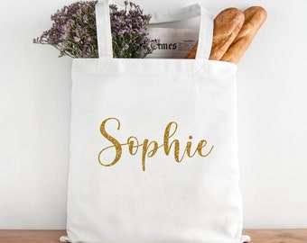 Your Name Personalised Tote Bag Gold Glitter, Any Name Personalised Bag White Personalised Bag, Bridesmaid Gift Bag, Teenager Tote Bag