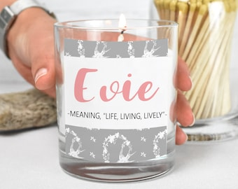 Candle Personalised Candle Name Candle in Jar Custom Candle Personalised &  Label White Candle Name Meaning Candle Personalised Name