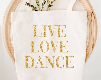 Tote Bag, Gold Glitter Writing Tote Bag, Beautiful Gift Bag, Dance Bag, Text Quote Tote Bags, Hen Party, Tote Bags