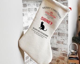 Personalised Pet Stocking, Cat Stocking, Cat Christmas Stocking, Animal Christmas Eve Present Sock, Personalised Stocking Bag, Pet Gift