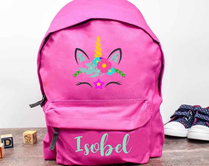 Personalised Unicorn Backpack, Unicorn School Bag, Kids Unicorn Rucksack, Girls School Backpack, Kids Children Student Backpack, Face