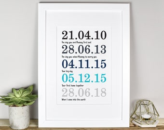 Personalised Father's Day Print, Special Dates Print, Father's Day Gift, Personalised Print, Dad Sentimental Gift, Office Gift, Prints, Him